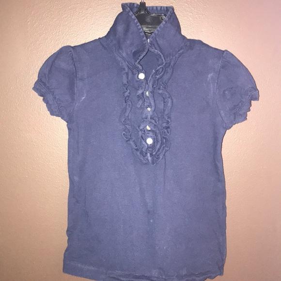 Ralph Lauren Navy Short Sleeve Ruffle Shirt